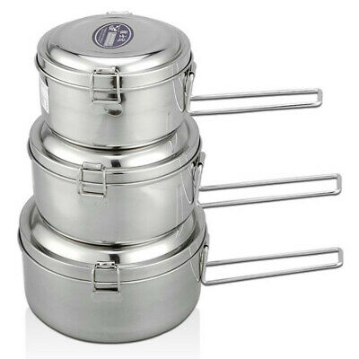 Portable Round Stainless Steel Lunch Box Leak-Proof Food Container Kitchen Home