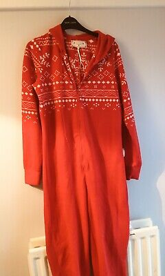 Ladies Christmas Onepiece Pyjamas Red Fleecy Hooded Size S (10/12) New Look VGC