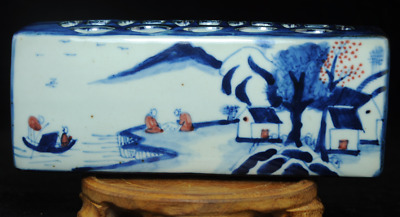 china old hand-made Blue and white porcelain landscape map Paper weight/Td02