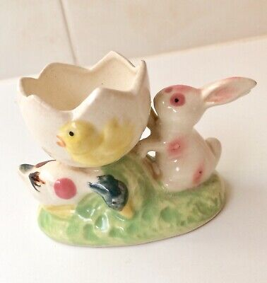 "Vintage Rabbit Duck And Chicken Egg Cup - Easter Eggcup - 1940's Stamped ""N"""
