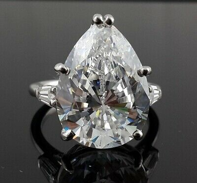 Huge Near White Pear 6.47 Ct Real Moissanite 925 Sterling Silver Engagement Ring