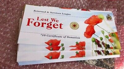 Brand New: 2012 RED POPPY RSL CARDs CERTIFICATE - CARDs ONLY  - NO COIN