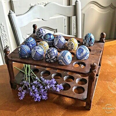 Antique French pine rustic large egg rack for 40 eggs kitchenalia woodenware