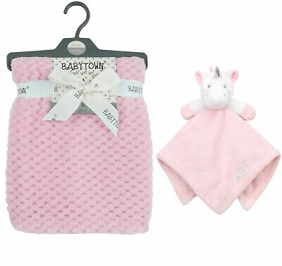 Personalised embroidered BABY WAFFLE BLANKET UNICORN gift set 2 colors