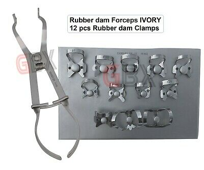 Rubber dam Set of 12 pcs Clamps with Stainless Tray + Ivory Rubber dam Forceps