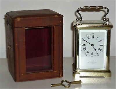 Antique Brass Cased Carriage Clock With Outer Case