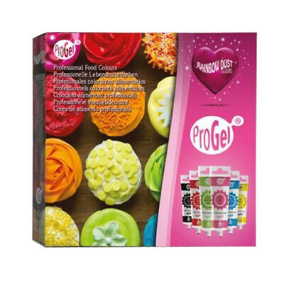 Rainbow Dust ProGel Box Set of 6 Concentrated Edible Food Colour for Cake Icing