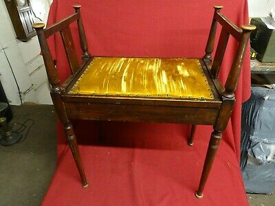 Antique/Vintage Mahogany Piano Stool upholstered with lift up seat