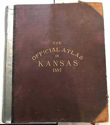 Official State Atlas of Kansas 1887 LH Everts & Co, Lithograph, Color Maps Book