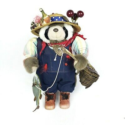 """Hand Made Fishing Raccoon 18"""" Tall with real wood fishing pole, basket and Hat!"""