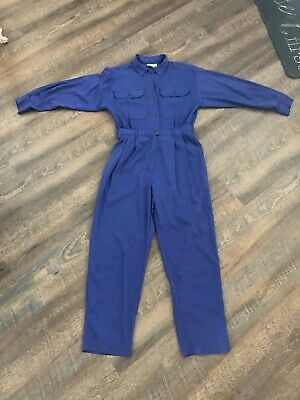 Womens 80s VTG Purple One Pc Utility Flight Suit Romper Pants Military Jumpsuit