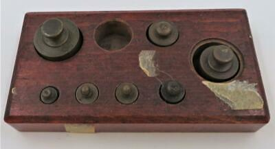 Antique Apothecary Brass Balance Scale Weights & Wooden Holder, Set of 7