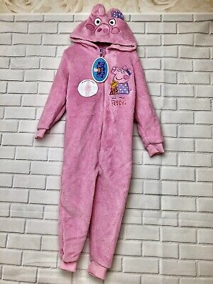 Girls Peppa Pig Hooded Fleece Bodysuite 1Onsie Pink Age 3-4 Years Bnwt