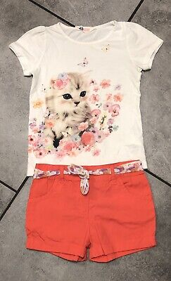 H&M...primark Girls Outfit 4-5 Y Cat Print Vgc