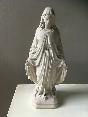 french antique vintage holy mary sculpture white