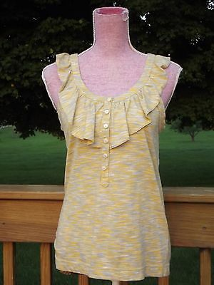 Marc by Marc Jacobs Heather Grey & Yellow Blouse Top Shirt Cotton Ruffle Medium