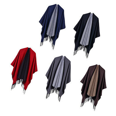 Frau Winter Poncho Stola Cape Schal Wrap Umhang Mode Reversible Umschlagtuch