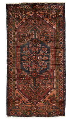 Vintage Persian Hamadan Rug, 3'x6', Red/Rust, Hand-Knotted Wool Pile