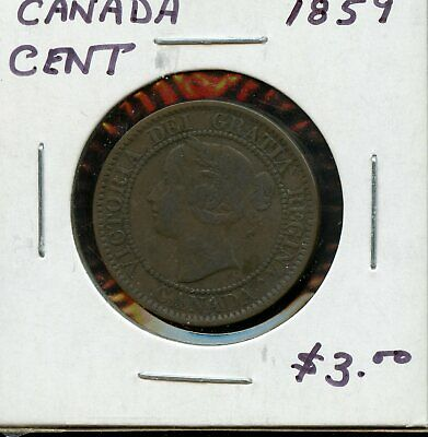 1859 Canada Large Cent Canadian Coin FN808