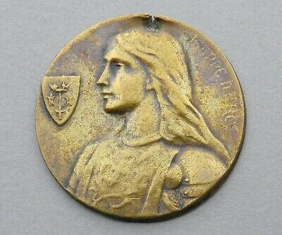 Saint Joan of Arc, Jeanne. Antique Religious Plate. French Medal.