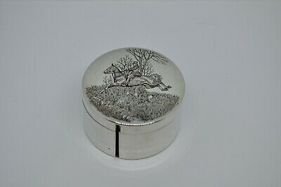 Vintage Sterling Silver Stamp Box Circular American Heavy Gauge, Horse Riding