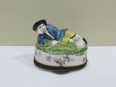 Rare antique French Porcelain Figural Snuff Box, A Gentleman with a Dog