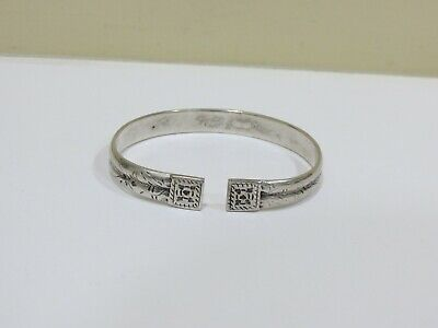 Antique Vintage Chinese Export Sterling Silver Cuff Bracelet