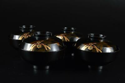 G932: Japanese Wooden Flower gold lacquer pattern SOUP BOWL/dish 4pcs