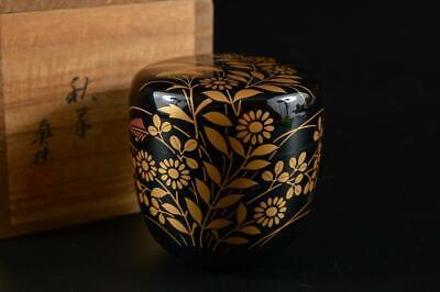 G69: Japanese Wooden Flower gold lacquer pattern TEA CADDY Natsume Chaire