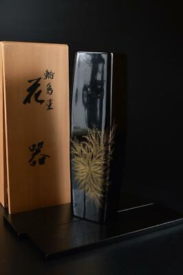 G2459: Japanese Wooden Dry lacquer Wajima lacquer FLOWER VASE w/signed box