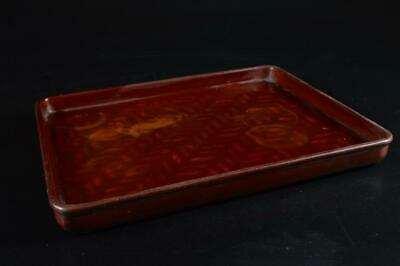 G3776: Japanese Lacquer ware WOODEN TRAY/plate Senchabon Tea Ceremony