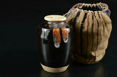 G3330: Japanese Old Seto-ware Brown glaze TEA CADDY with High class lid Shifuku
