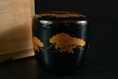 G3583: Japanese XF Wooden Lacquer ware TEA CADDY Natsume, Gyokuho made w/box