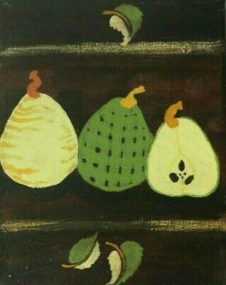 Green and Yellow Pear Folk Art Pears Painting Number 2