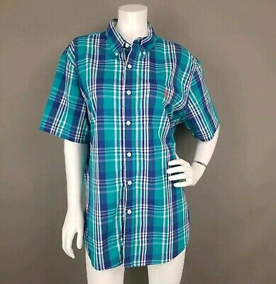 Us Polo Assn Stretch Plaid Button Down Shirt Short Sleeves Mens Size Large