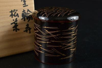 G4943: Japanese Wooden Lacquer ware TEA CADDY Natsume Chaire Container w/box