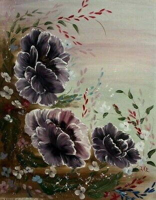"Three Purple Flowers in The Wild Vintage Painting signed ""IKE"""