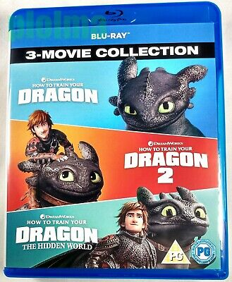 HOW TO TRAIN YOUR DRAGON 3-Movie Collection Used BLU-RAY Trilogy 2 Hidden World