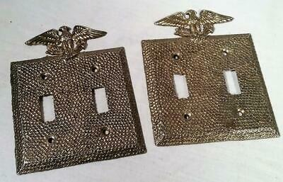 Vtg Edmar Brass Plated Colonial Style Double Electric Light Switch Plate Covers