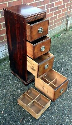 Victorian antique solid mahogany pine apothecary chemists shop chest of drawers