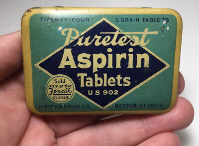 Vintage Puretest Aspirin Tablets Advertising Medicine Tin