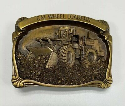 Caterpilllar Tractor Cat E Series Wheel Loaders Belt Buckle Vintage 1988 US Made