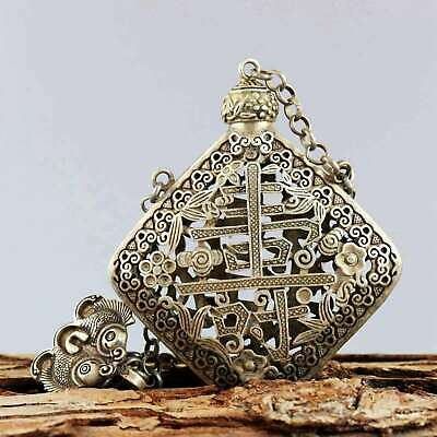 Collect Miao Silver Carve Flower Rattan & Chinese Characters Noble Snuff Bottle