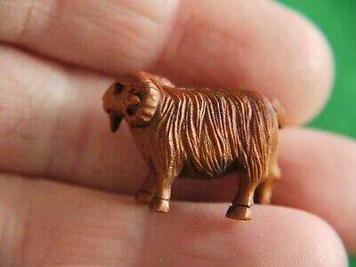 Superb Qlty Antique Signed Wooden Carved Japanese Netsuke Sheep Ram Ornament