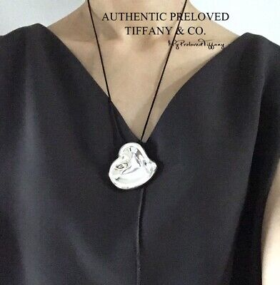 Authentic Tiffany & Co Elsa Peretti Full Heart Mirror Necklace Large Huge RP$775