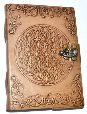 Flower of Life Embossed Leather Blank Book Journal Metal Latch Closure