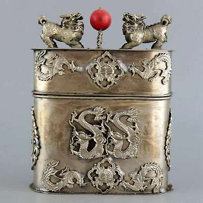 Collect Old Miao Silver Hand-Caved Dragon & Phenix & Kylin Moral Bring Luck Box
