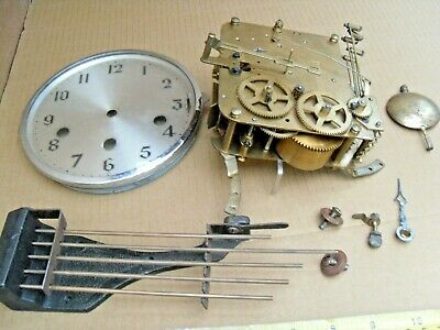 Vintage Brass Clock Movement 5 Chimes Cast Iron Base Face & Door Cogs Art Part