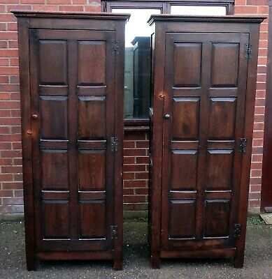 Pair antique solid panelled oak Arts & Crafts hall bedroom wardrobes armoires