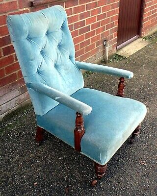 Quality antique Victorian Howard type walnut library armchair Copes casters